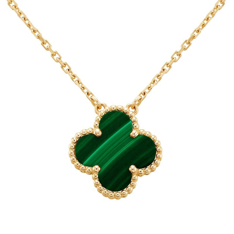 【包税】Van Cleef & Arpels/梵克雅宝 Vintage Alhambra 女士绿色四叶草孔雀石金链项链 VCARO9VA00