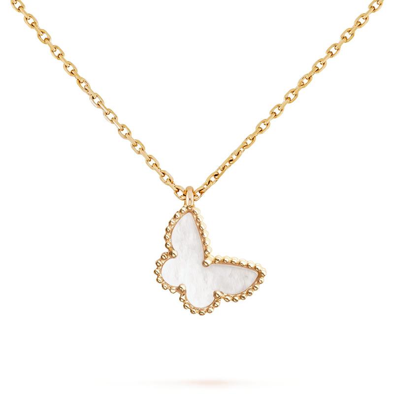 【包税】Van Cleef & Arpels/梵克雅宝 Sweet Alhambra 女士白色珍珠母贝蝴蝶金链项链 VCARF69300