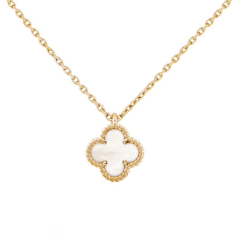 【包税】Van Cleef & Arpels/梵克雅宝 Sweet Alhambra 女士白色珍珠贝母四叶草金链项链 VCARF69100