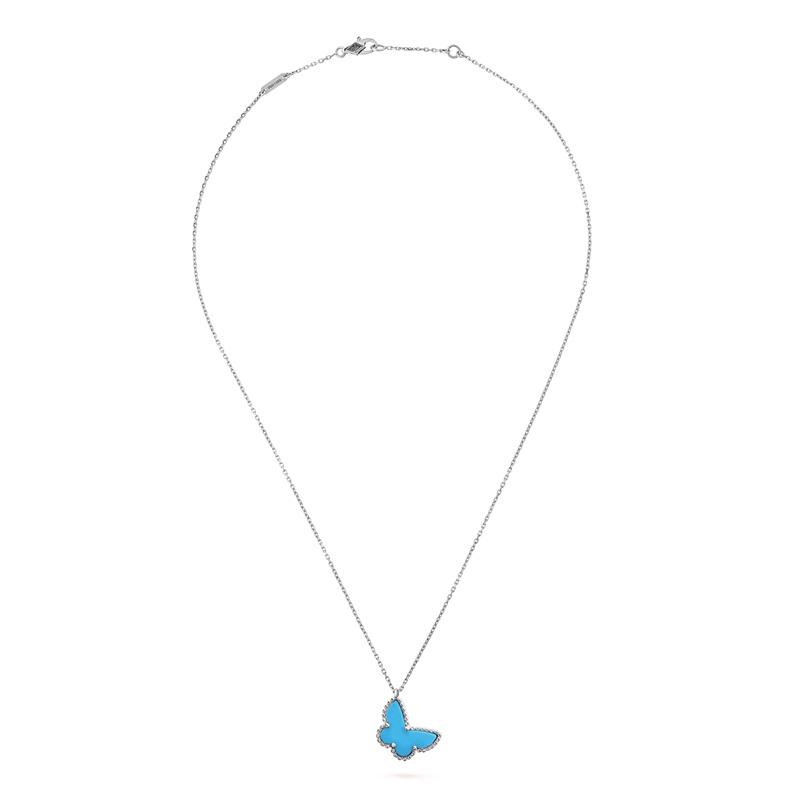 【包税】Van Cleef & Arpels/梵克雅宝 Sweet Alhambra papillon 女士绿松石蓝色蝴蝶银链项链 VCARF80500