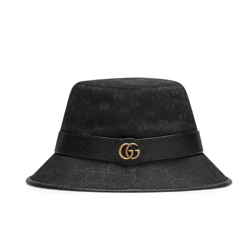 【包邮包税】GUCCI/古驰  19秋冬女士新款双G帆布黑色渔夫帽子 576587 4HG53 1060