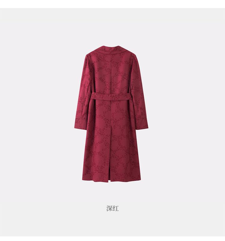 EXCEPTION/例外 原创设计时尚气质羊毛剪花长款风衣女 舒适保暖梭织外套-女士风衣