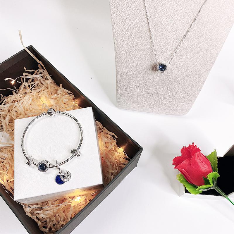 【情人节礼盒套装】PANDORA/潘多拉 情人节套装 QRJ-2 手链手镯项链套装 蓝色繁星童话套装