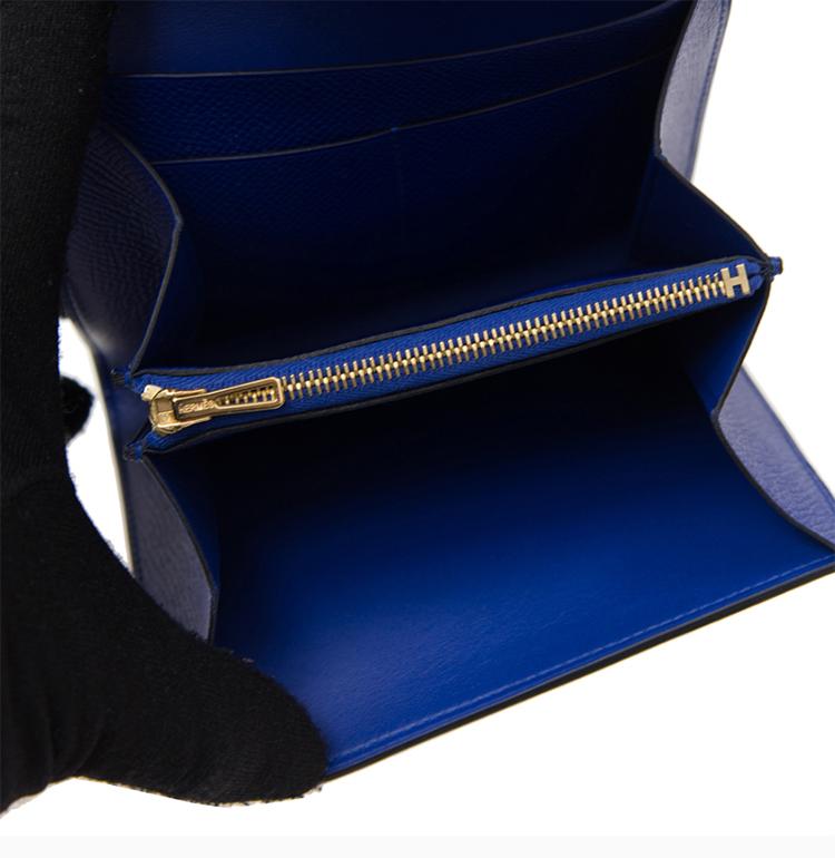 【包邮包税】HERMES/爱马仕 20春夏  Constance系列 女士蓝色牛皮经典金色H扣 卡包钱包