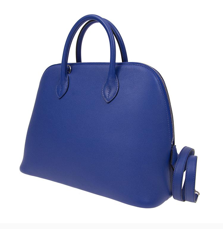 HERMES/爱马仕 20春夏 女士牛皮蓝色简约包斜挎包贝壳包手提包