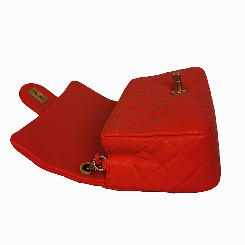 【包邮包税】CHANEL/香奈儿 2020春夏爆款 红色滑面小牛皮绗缝菱格金珠双C方胖子单肩包