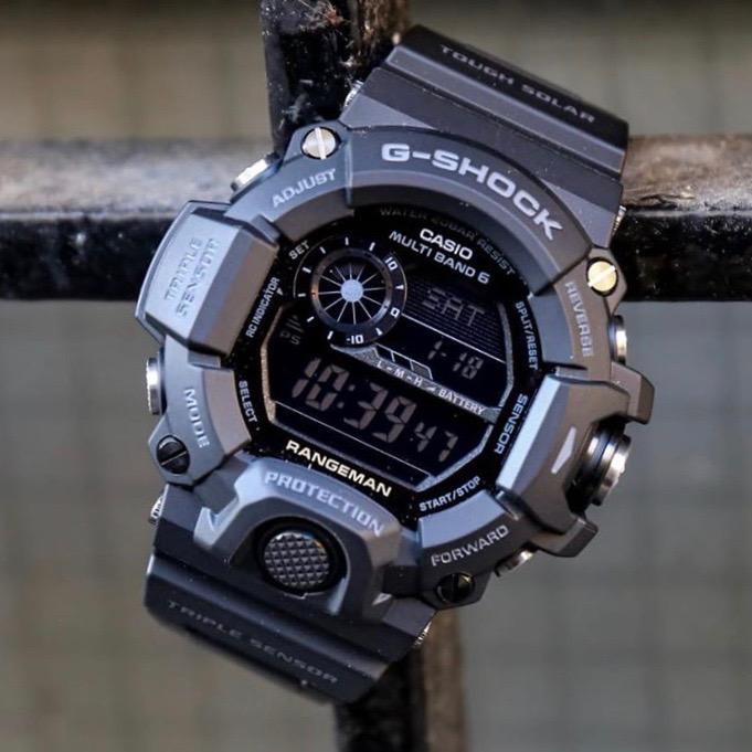 CASIO/卡西欧 G-SHOCK Rangeman 貓人系列 200米防水 霧黑色碳纖維強化樹脂錶殼 耐衝擊構造 野外生存 太陽能运动腕表 GW-9400-1B