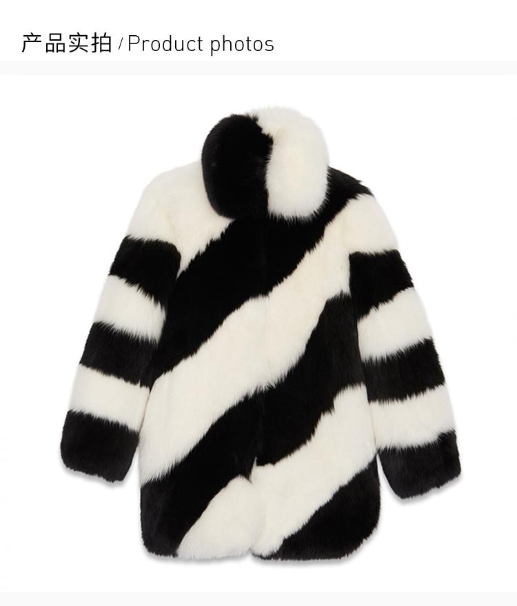 【包邮包税】SAINT LAURENT PARIS/圣罗兰 20秋冬 女装 服装 黑色白色条纹狐狸毛中长款 女士大衣