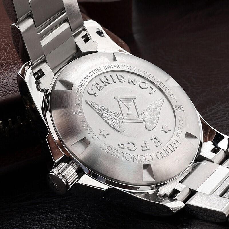 LONGINES/浪琴瑞士手表 康卡斯系列石英夜光精钢男士腕表 钢带蓝盘L3.740.4.96.6